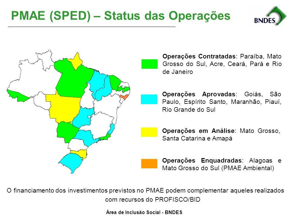 Área de Inclusão Social - BNDES Operações Aprovadas: Goiás, São Paulo, Espírito Santo, Maranhão, Piauí, Rio Grande do Sul Operações em Análise: Mato G