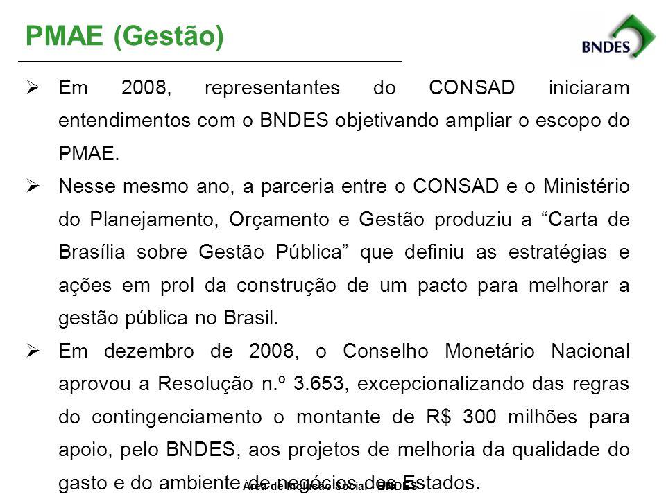Área de Inclusão Social - BNDES PMAE (Gestão) Em 2008, representantes do CONSAD iniciaram entendimentos com o BNDES objetivando ampliar o escopo do PM