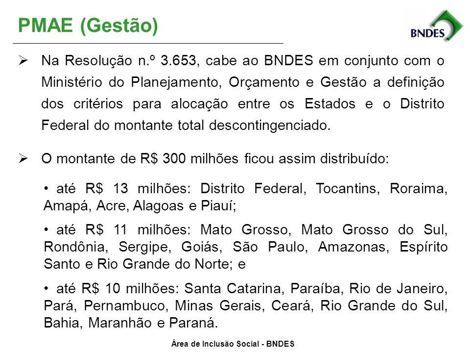 Área de Inclusão Social - BNDES PMAE (Gestão) Na Resolução n.º 3.653, cabe ao BNDES em conjunto com o Ministério do Planejamento, Orçamento e Gestão a