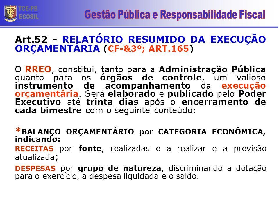 Art.52 - RELATÓRIO RESUMIDO DA EXECUÇÃO ORÇAMENTÁRIA (CF-&3º; ART.165) O RREO, constitui, tanto para a Administração Pública quanto para os órgãos de