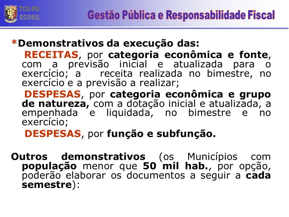 *Demonstrativos da execução das: RECEITAS, por categoria econômica e fonte, com a previsão inicial e atualizada para o exercício; a receita realizada
