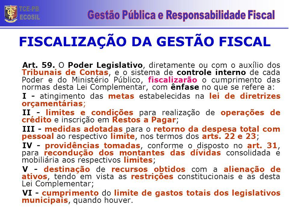 FISCALIZAÇÃO DA GESTÃO FISCAL Art. 59. O Poder Legislativo, diretamente ou com o auxílio dos Tribunais de Contas, e o sistema de controle interno de c