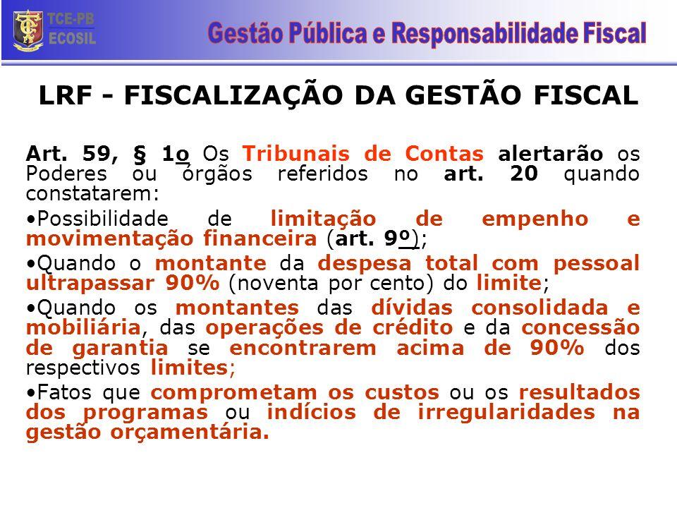 Art. 59, § 1o Os Tribunais de Contas alertarão os Poderes ou órgãos referidos no art. 20 quando constatarem: Possibilidade de limitação de empenho e m