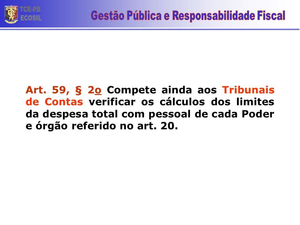Art. 59, § 2o Compete ainda aos Tribunais de Contas verificar os cálculos dos limites da despesa total com pessoal de cada Poder e órgão referido no a
