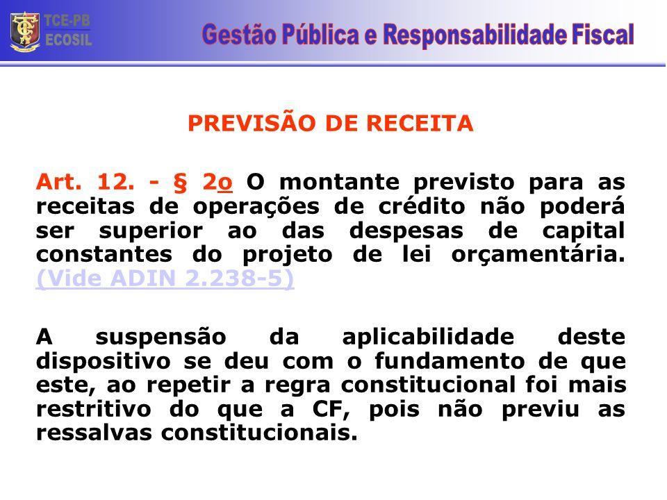 PREVISÃO DE RECEITA Art. 12. - § 2o O montante previsto para as receitas de operações de crédito não poderá ser superior ao das despesas de capital co