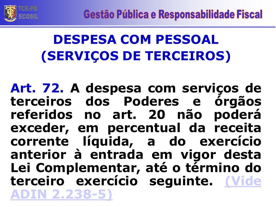 DESPESA COM PESSOAL (SERVIÇOS DE TERCEIROS) Art. 72. A despesa com serviços de terceiros dos Poderes e órgãos referidos no art. 20 não poderá exceder,
