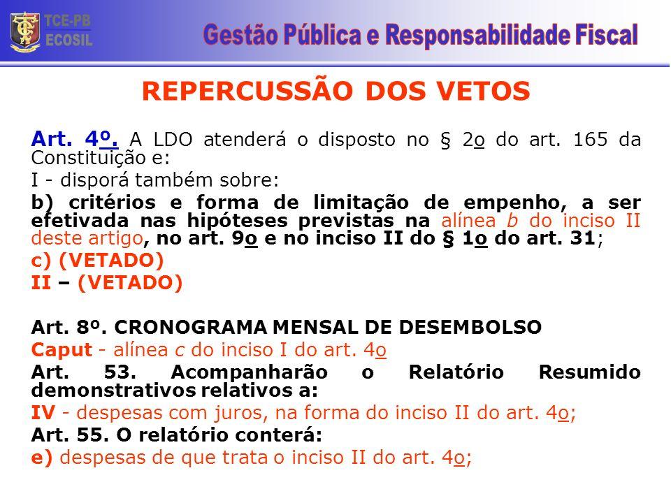 REPERCUSSÃO DOS VETOS Art. 4º. A LDO atenderá o disposto no § 2o do art. 165 da Constituição e: I - disporá também sobre: b) critérios e forma de limi