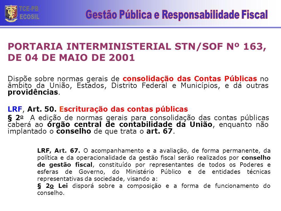 PORTARIA INTERMINISTERIAL STN/SOF Nº 163, DE 04 DE MAIO DE 2001 Dispõe sobre normas gerais de consolidação das Contas Públicas no âmbito da União, Est