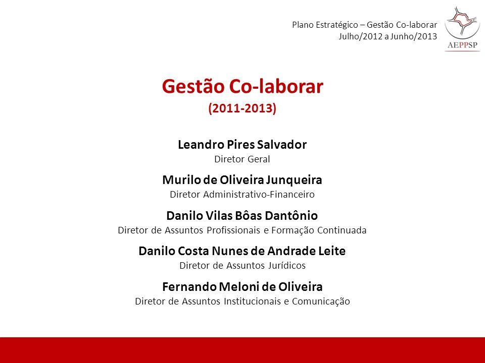 Leandro Pires Salvador Diretor Geral Murilo de Oliveira Junqueira Diretor Administrativo-Financeiro Danilo Vilas Bôas Dantônio Diretor de Assuntos Pro
