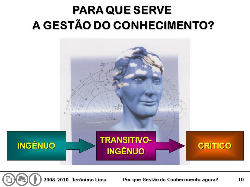 2008-2010 Jerônimo Lima 10 Por que Gestão do Conhecimento agora? PARA QUE SERVE A GESTÃO DO CONHECIMENTO? INGÊNUOTRANSITIVO-INGÊNUOCRÍTICO