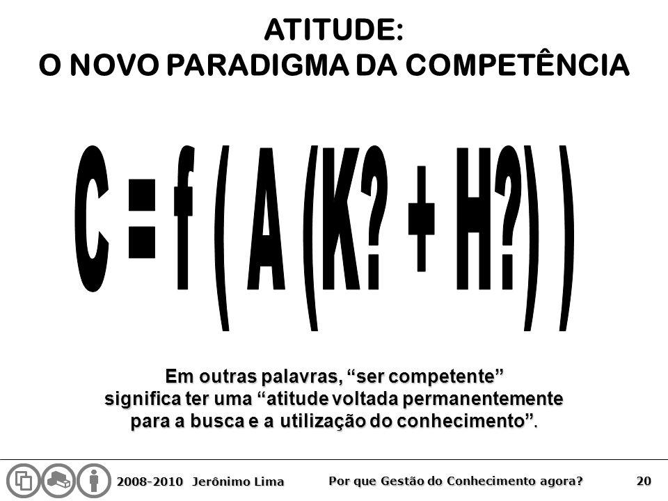 2008-2010 Jerônimo Lima 20 Por que Gestão do Conhecimento agora? ATITUDE: O NOVO PARADIGMA DA COMPETÊNCIA Em outras palavras, ser competente significa