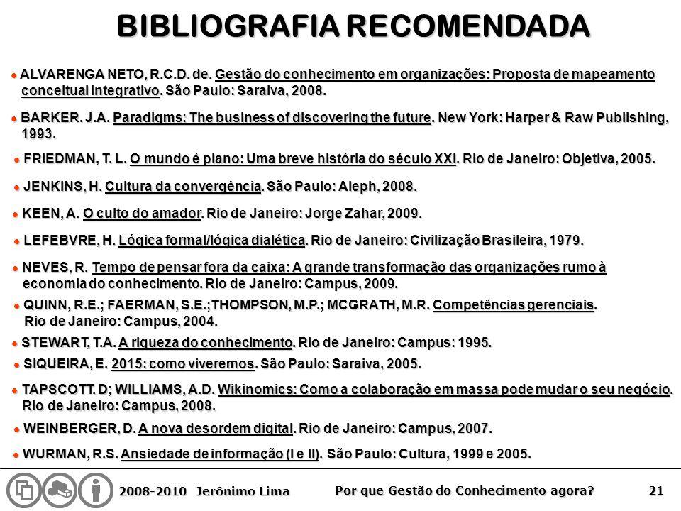 2008-2010 Jerônimo Lima 21 Por que Gestão do Conhecimento agora? BIBLIOGRAFIA RECOMENDADA l ALVARENGA NETO, R.C.D. de. Gestão do conhecimento em organ