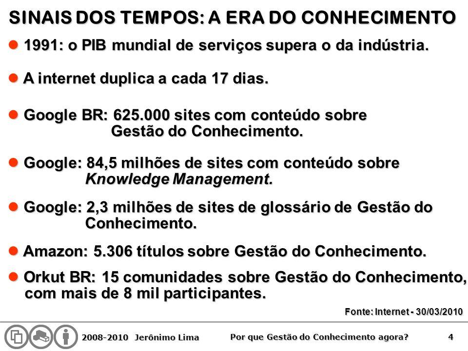2008-2010 Jerônimo Lima 4 Por que Gestão do Conhecimento agora? SINAIS DOS TEMPOS: A ERA DO CONHECIMENTO 1991: o PIB mundial de serviços supera o da i