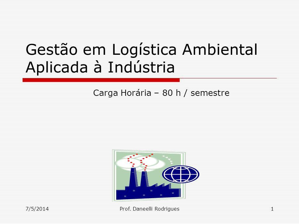 7/5/2014Prof. Daneelli Rodrigues1 Gestão em Logística Ambiental Aplicada à Indústria Carga Horária – 80 h / semestre