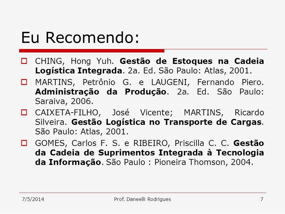 7/5/2014Prof. Daneelli Rodrigues7 Eu Recomendo: CHING, Hong Yuh. Gestão de Estoques na Cadeia Logística Integrada. 2a. Ed. São Paulo: Atlas, 2001. MAR