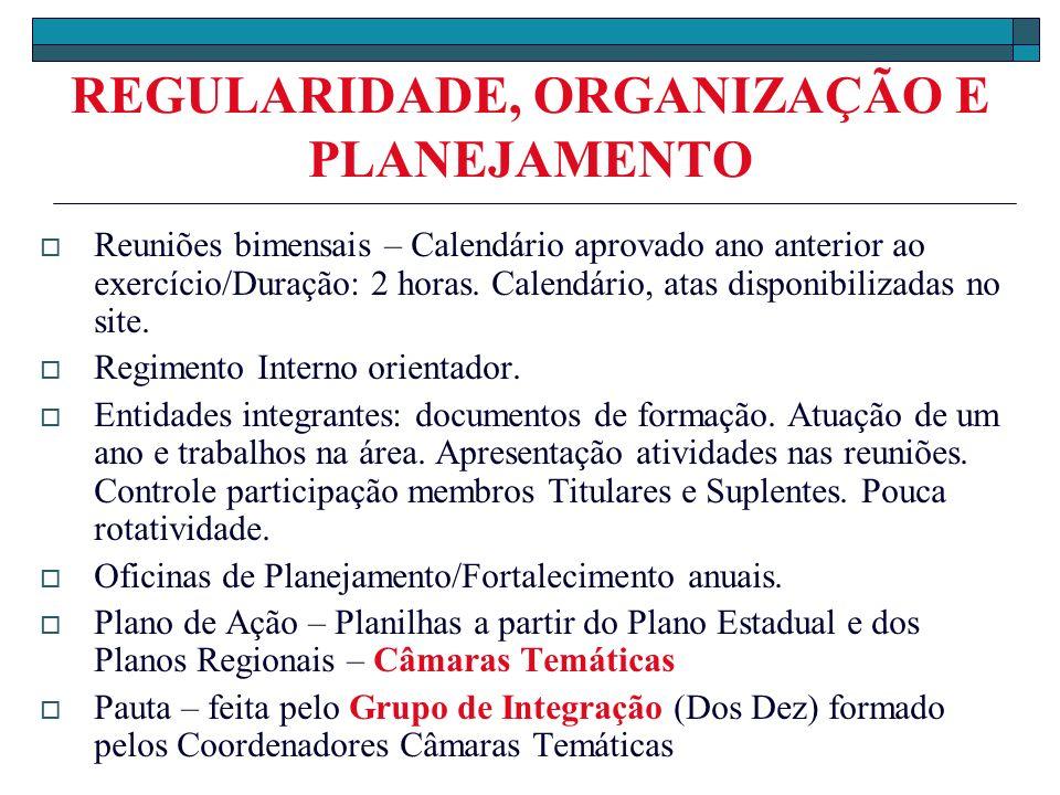 REGULARIDADE, ORGANIZAÇÃO E PLANEJAMENTO Reuniões bimensais – Calendário aprovado ano anterior ao exercício/Duração: 2 horas. Calendário, atas disponi