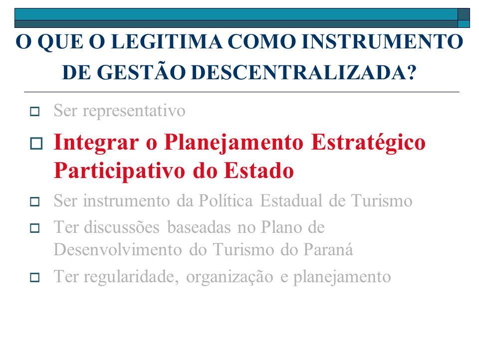 O QUE O LEGITIMA COMO INSTRUMENTO DE GESTÃO DESCENTRALIZADA? Ser representativo Integrar o Planejamento Estratégico Participativo do Estado Ser instru