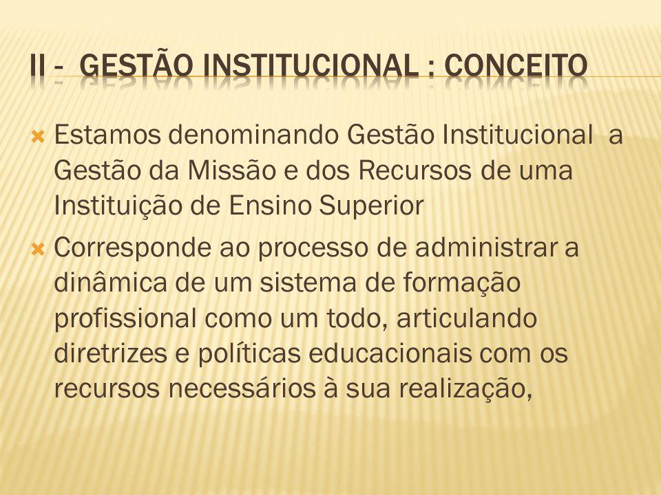 Estamos denominando Gestão Institucional a Gestão da Missão e dos Recursos de uma Instituição de Ensino Superior Corresponde ao processo de administra