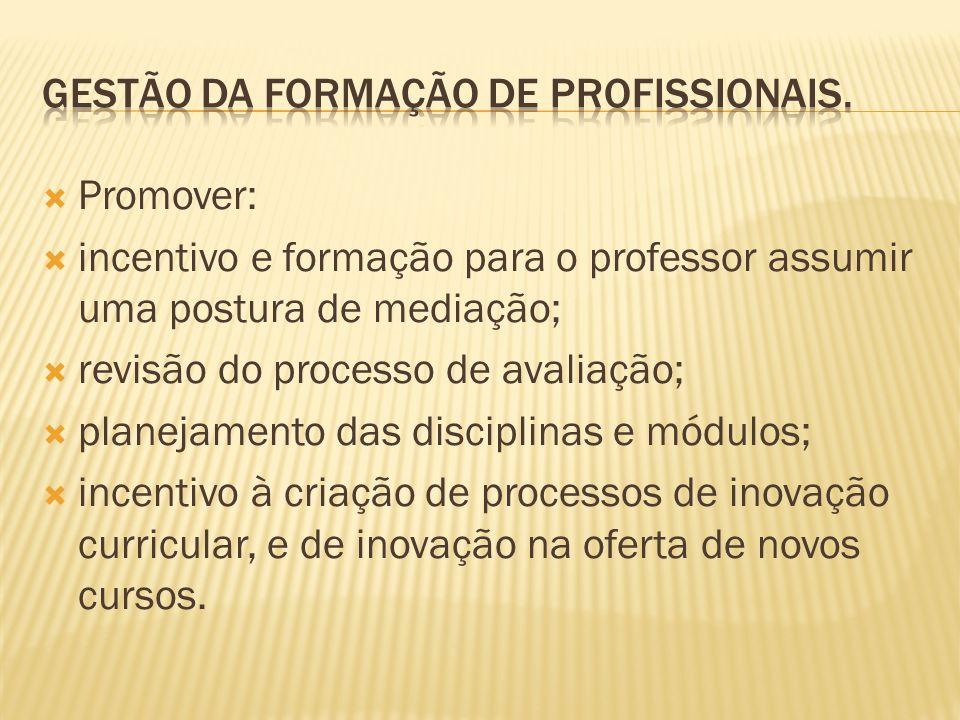 Promover: incentivo e formação para o professor assumir uma postura de mediação; revisão do processo de avaliação; planejamento das disciplinas e módu