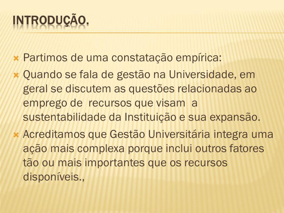 Gestão da Universidade Universidade e sua missão histórica Gestão Institucional - Conceito Gestão da Missão Gestão de Recursos Discussão de Prioridades Formação de Gestores
