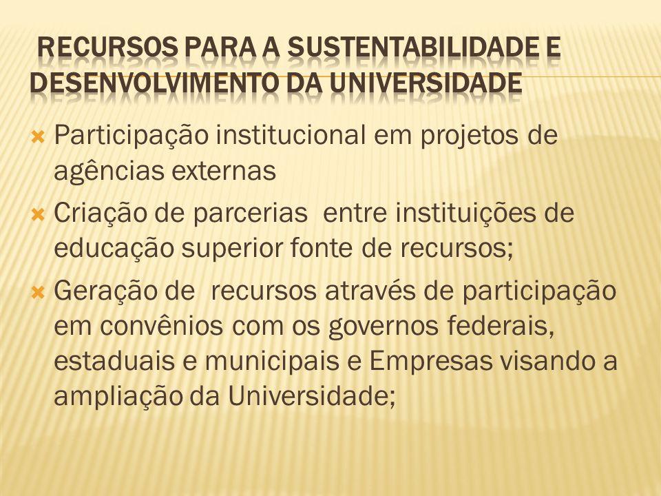 Participação institucional em projetos de agências externas Criação de parcerias entre instituições de educação superior fonte de recursos; Geração de