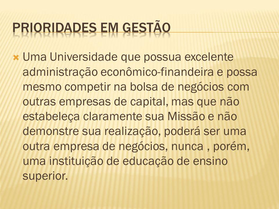 Uma Universidade que possua excelente administração econômico-finandeira e possa mesmo competir na bolsa de negócios com outras empresas de capital, m