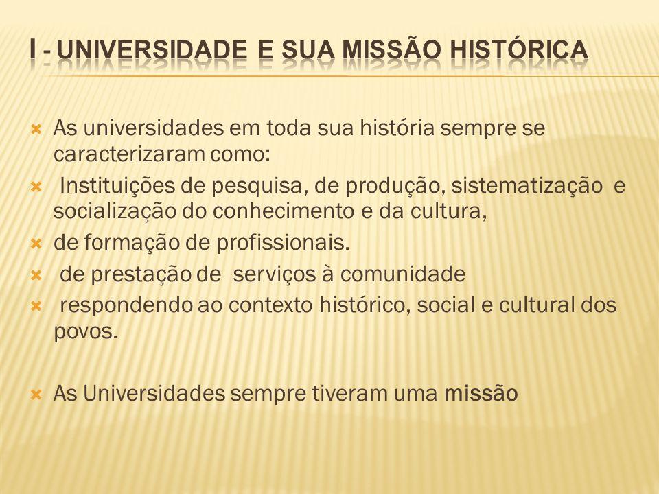 As universidades em toda sua história sempre se caracterizaram como: Instituições de pesquisa, de produção, sistematização e socialização do conhecime