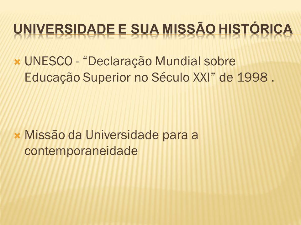 UNESCO - Declaração Mundial sobre Educação Superior no Século XXI de 1998. Missão da Universidade para a contemporaneidade