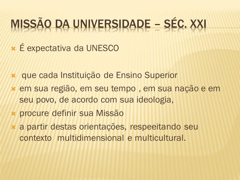 É expectativa da UNESCO que cada Instituição de Ensino Superior em sua região, em seu tempo, em sua nação e em seu povo, de acordo com sua ideologia,
