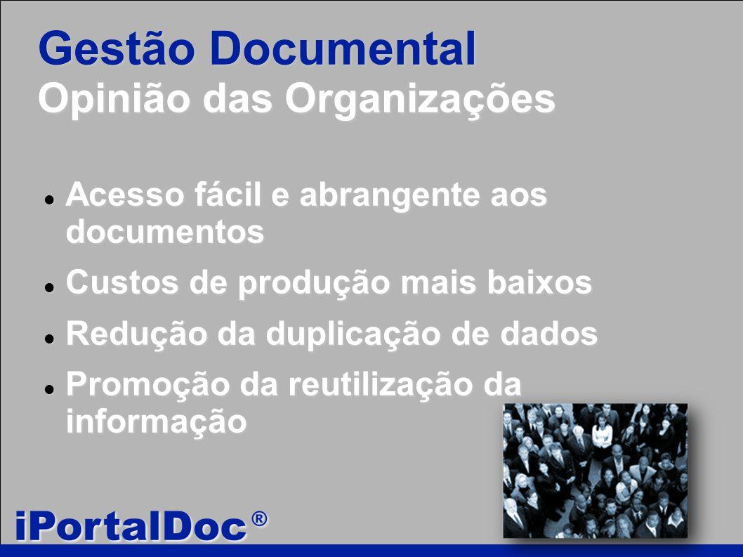 Gestão Documental Opinião das Organizações Acesso fácil e abrangente aos documentos Acesso fácil e abrangente aos documentos Custos de produção mais baixos Custos de produção mais baixos Redução da duplicação de dados Redução da duplicação de dados Promoção da reutilização da informação Promoção da reutilização da informação