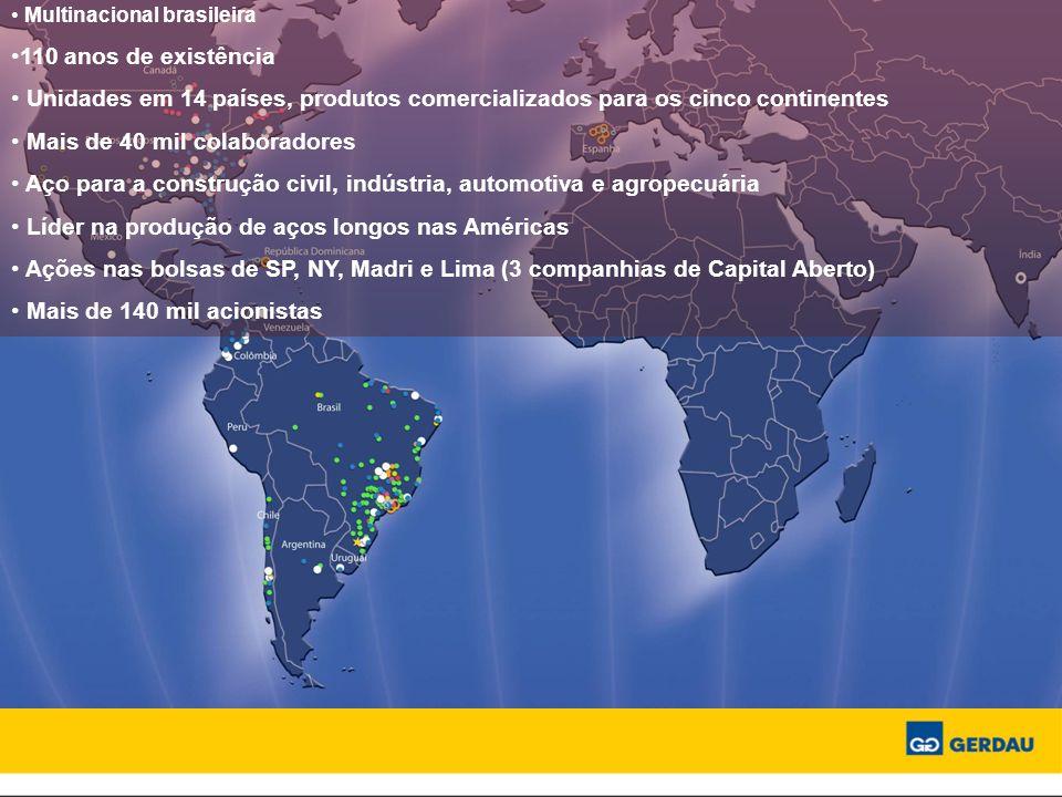 Multinacional brasileira 110 anos de existência Unidades em 14 países, produtos comercializados para os cinco continentes Mais de 40 mil colaboradores Aço para a construção civil, indústria, automotiva e agropecuária Líder na produção de aços longos nas Américas Ações nas bolsas de SP, NY, Madri e Lima (3 companhias de Capital Aberto) Mais de 140 mil acionistas