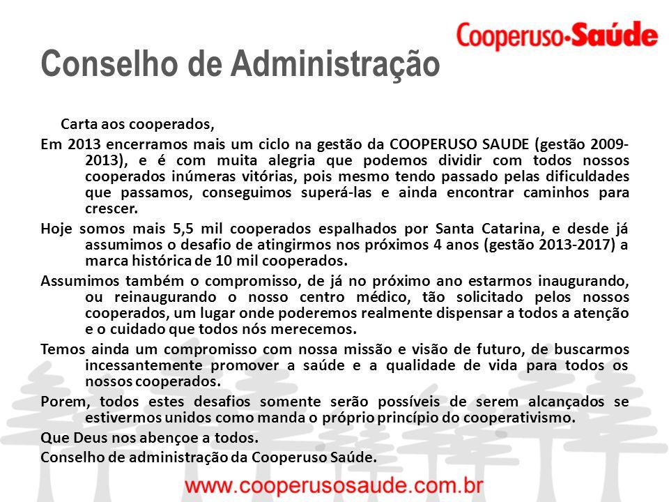 Conselho de Administração Carta aos cooperados, Em 2013 encerramos mais um ciclo na gestão da COOPERUSO SAUDE (gestão 2009- 2013), e é com muita alegr