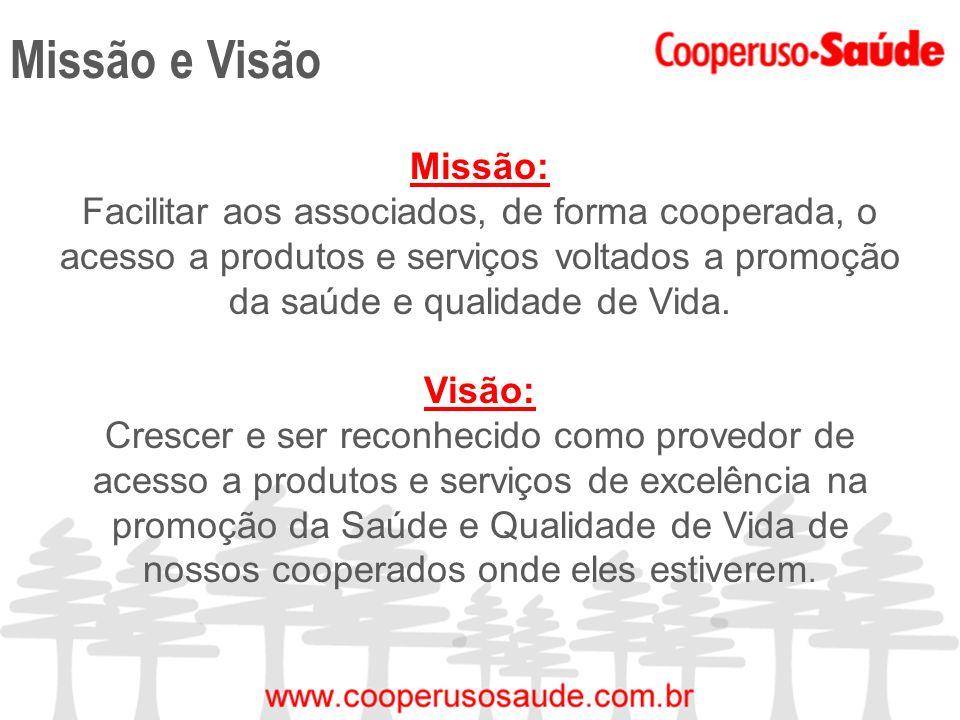 Missão e Visão Missão: Facilitar aos associados, de forma cooperada, o acesso a produtos e serviços voltados a promoção da saúde e qualidade de Vida.