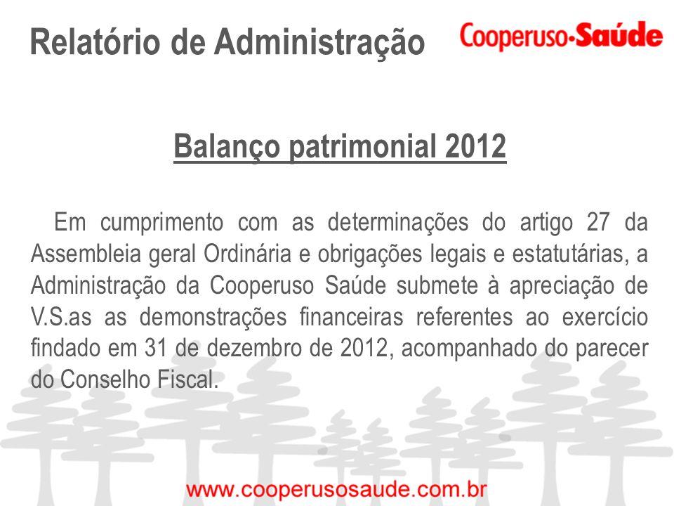 Relatório de Administração Balanço patrimonial 2012 Em cumprimento com as determinações do artigo 27 da Assembleia geral Ordinária e obrigações legais