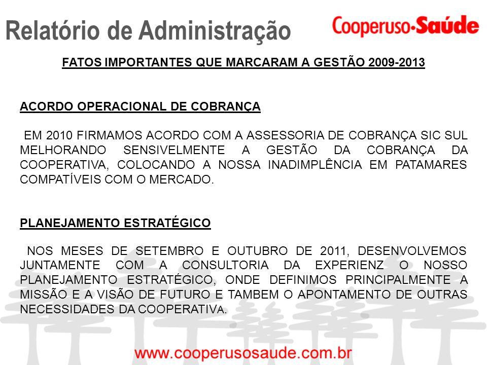 Relatório de Administração FATOS IMPORTANTES QUE MARCARAM A GESTÃO 2009-2013 ACORDO OPERACIONAL DE COBRANÇA EM 2010 FIRMAMOS ACORDO COM A ASSESSORIA D
