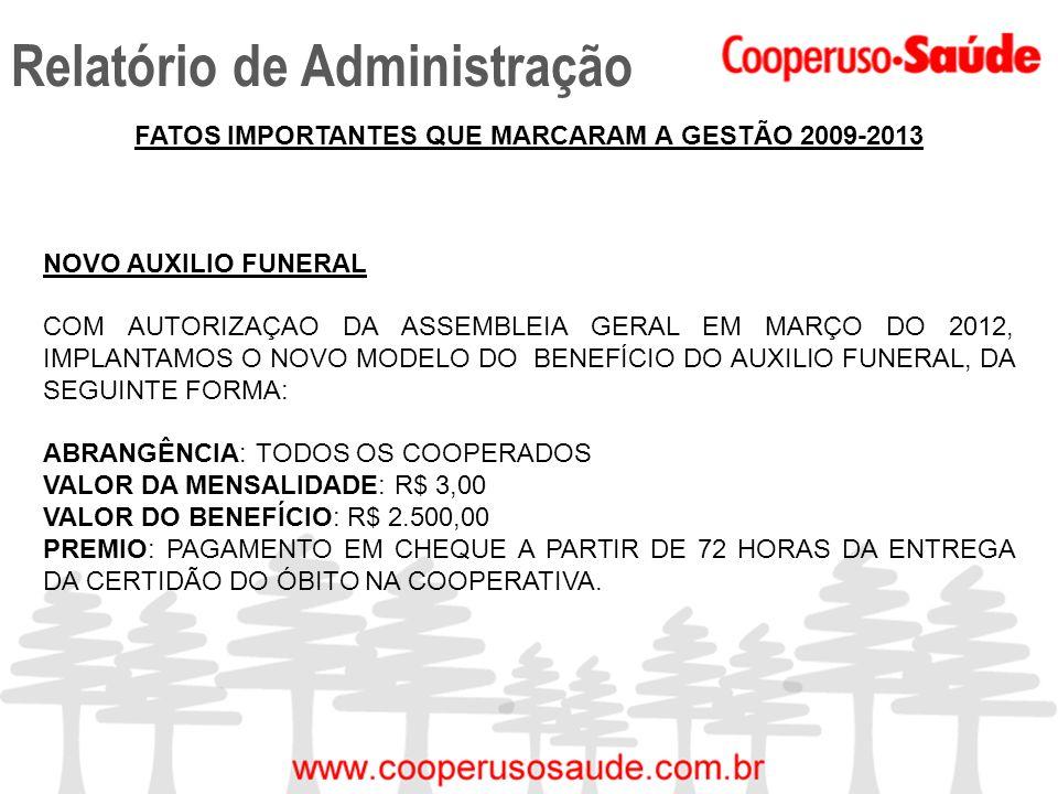 Relatório de Administração FATOS IMPORTANTES QUE MARCARAM A GESTÃO 2009-2013 NOVO AUXILIO FUNERAL COM AUTORIZAÇAO DA ASSEMBLEIA GERAL EM MARÇO DO 2012