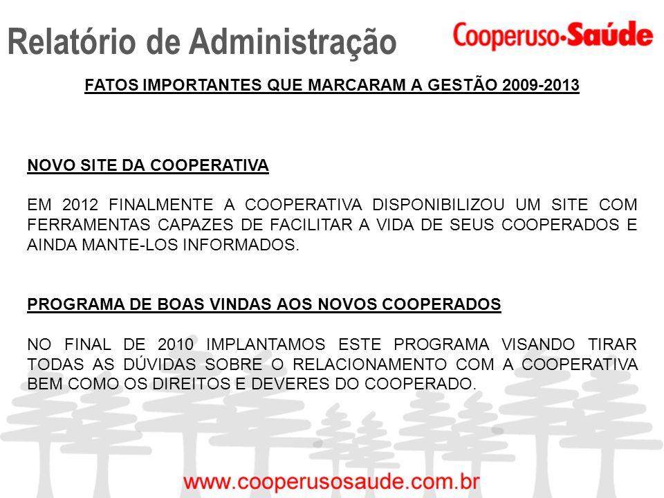 Relatório de Administração FATOS IMPORTANTES QUE MARCARAM A GESTÃO 2009-2013 NOVO SITE DA COOPERATIVA EM 2012 FINALMENTE A COOPERATIVA DISPONIBILIZOU