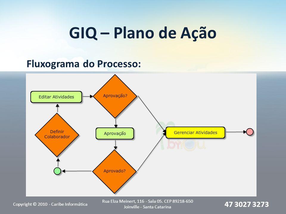 GIQ – Plano de Ação Fluxograma do Processo: Copyright © 2010 - Caribe Informática Rua Elza Meinert, 116 - Sala 05. CEP 89218-650 Joinville - Santa Cat