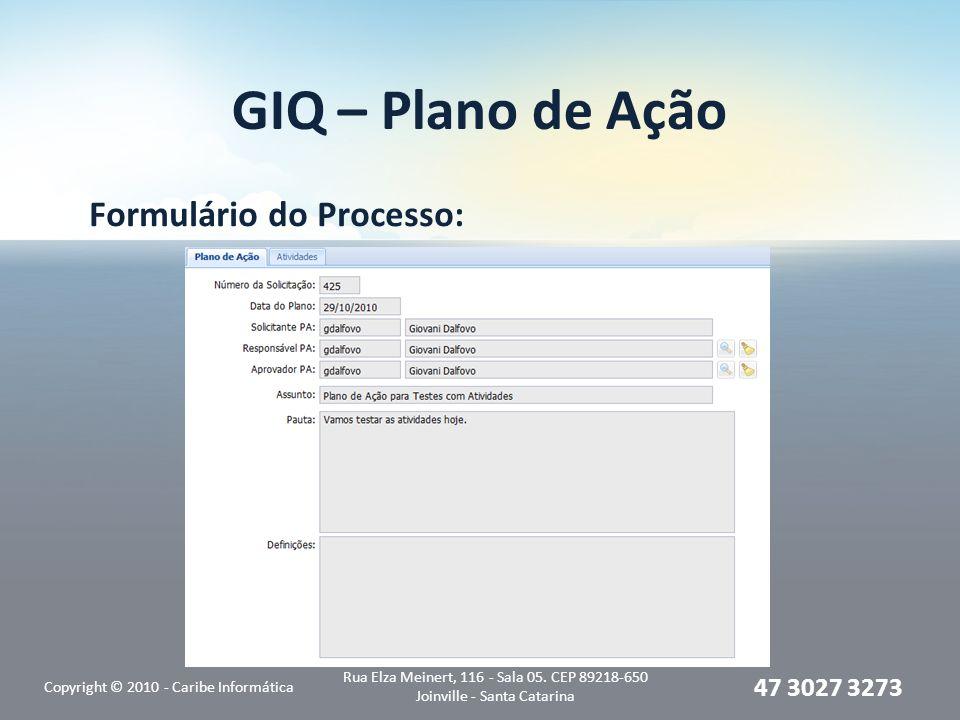GIQ – Plano de Ação Formulário do Processo: Copyright © 2010 - Caribe Informática Rua Elza Meinert, 116 - Sala 05.