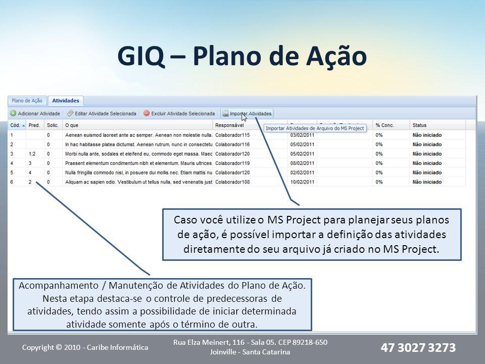 GIQ – Plano de Ação Atividades, definição e acompanhamento: Copyright © 2010 - Caribe Informática Rua Elza Meinert, 116 - Sala 05. CEP 89218-650 Joinv