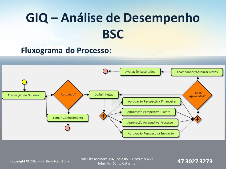 GIQ – Análise de Desempenho BSC Fluxograma do Processo: Copyright © 2010 - Caribe Informática Rua Elza Meinert, 116 - Sala 05. CEP 89218-650 Joinville
