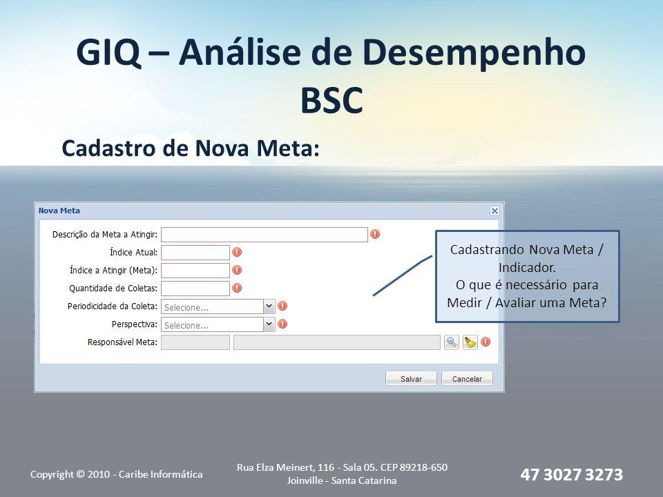 GIQ – Análise de Desempenho BSC Cadastro de Nova Meta: Copyright © 2010 - Caribe Informática Rua Elza Meinert, 116 - Sala 05.