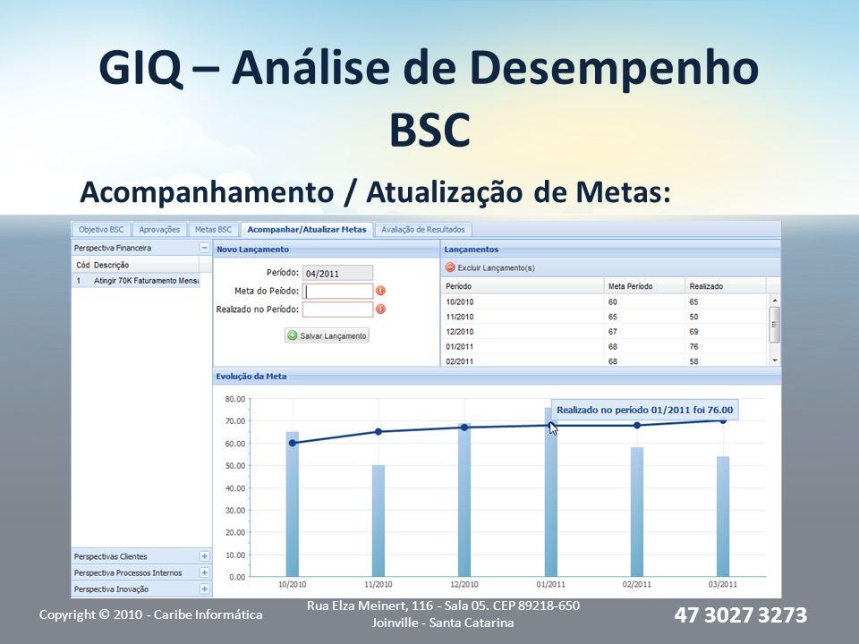 GIQ – Análise de Desempenho BSC Acompanhamento / Atualização de Metas: Copyright © 2010 - Caribe Informática Rua Elza Meinert, 116 - Sala 05. CEP 8921