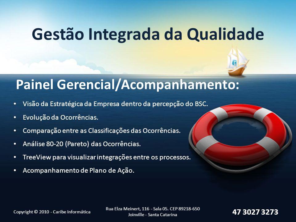 Gestão Integrada da Qualidade Painel Gerencial/Acompanhamento: Copyright © 2010 - Caribe Informática Rua Elza Meinert, 116 - Sala 05.