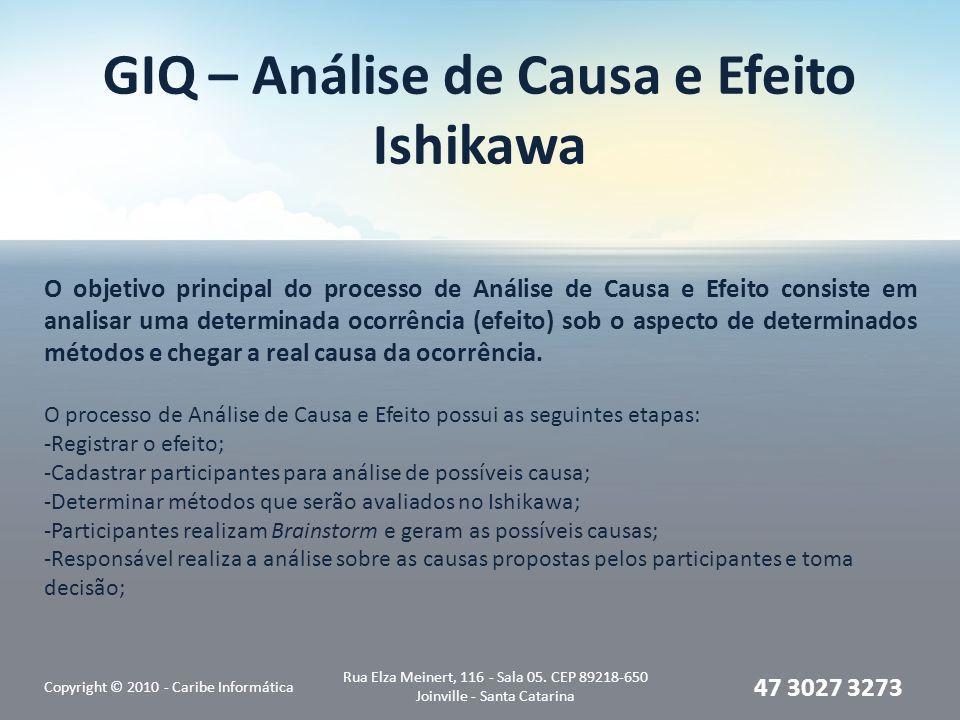 GIQ – Análise de Causa e Efeito Ishikawa Copyright © 2010 - Caribe Informática Rua Elza Meinert, 116 - Sala 05.