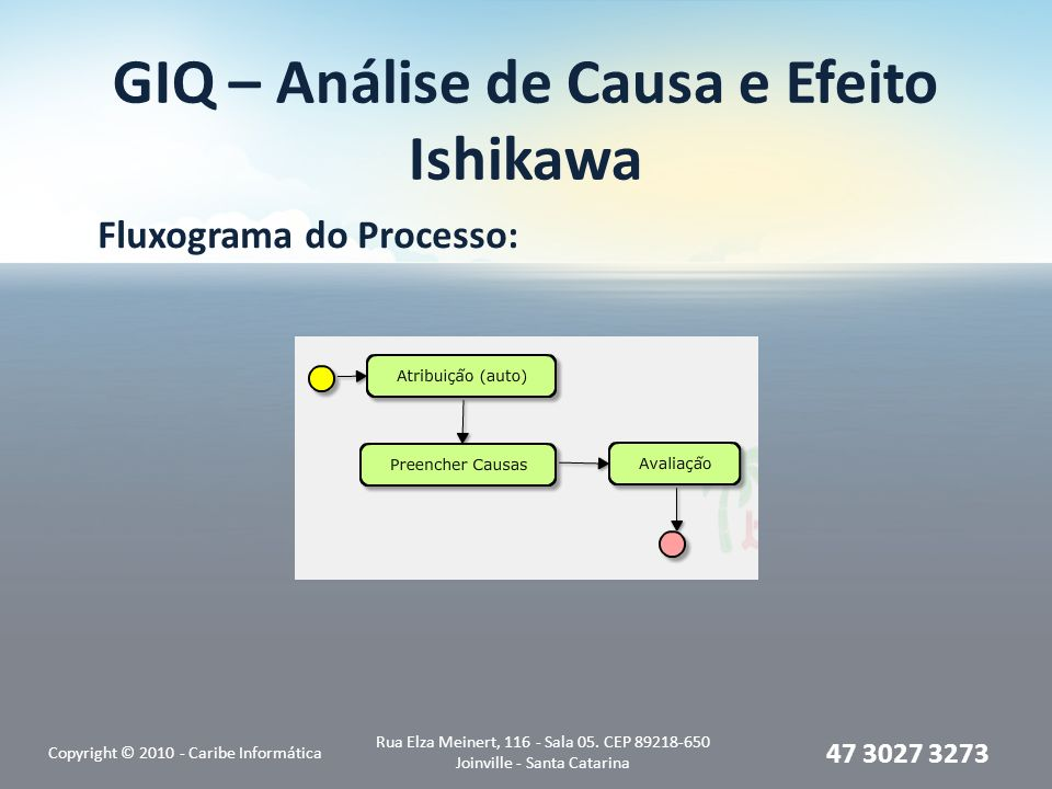 GIQ – Análise de Causa e Efeito Ishikawa Fluxograma do Processo: Copyright © 2010 - Caribe Informática Rua Elza Meinert, 116 - Sala 05.
