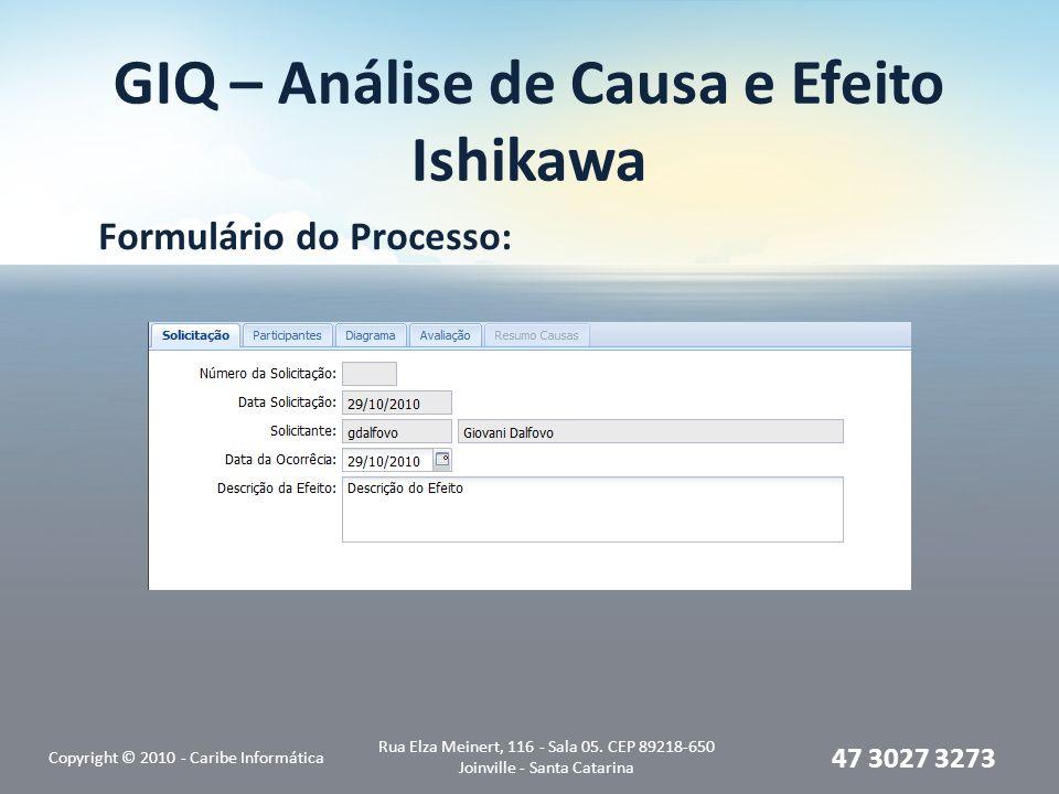 GIQ – Análise de Causa e Efeito Ishikawa Formulário do Processo: Copyright © 2010 - Caribe Informática Rua Elza Meinert, 116 - Sala 05. CEP 89218-650