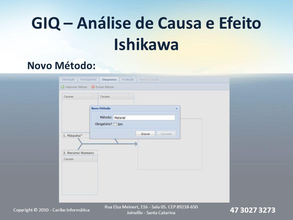 GIQ – Análise de Causa e Efeito Ishikawa Novo Método: Copyright © 2010 - Caribe Informática Rua Elza Meinert, 116 - Sala 05. CEP 89218-650 Joinville -