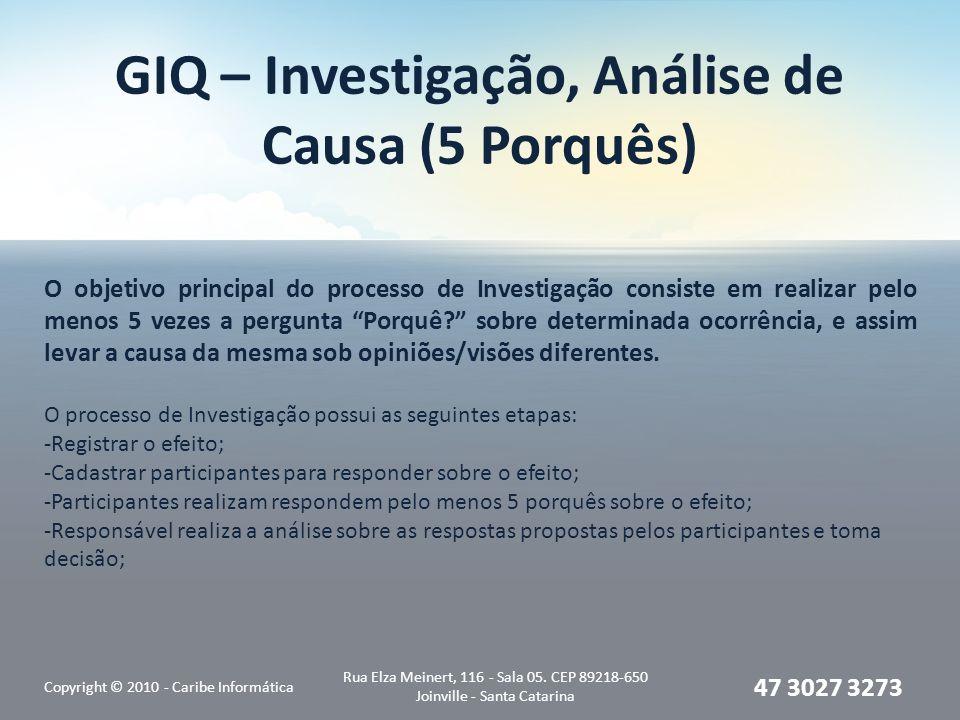 GIQ – Investigação, Análise de Causa (5 Porquês) Copyright © 2010 - Caribe Informática Rua Elza Meinert, 116 - Sala 05. CEP 89218-650 Joinville - Sant