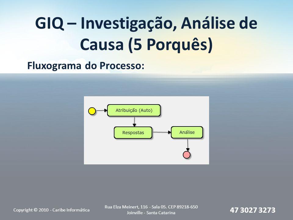 GIQ – Investigação, Análise de Causa (5 Porquês) Fluxograma do Processo: Copyright © 2010 - Caribe Informática Rua Elza Meinert, 116 - Sala 05. CEP 89